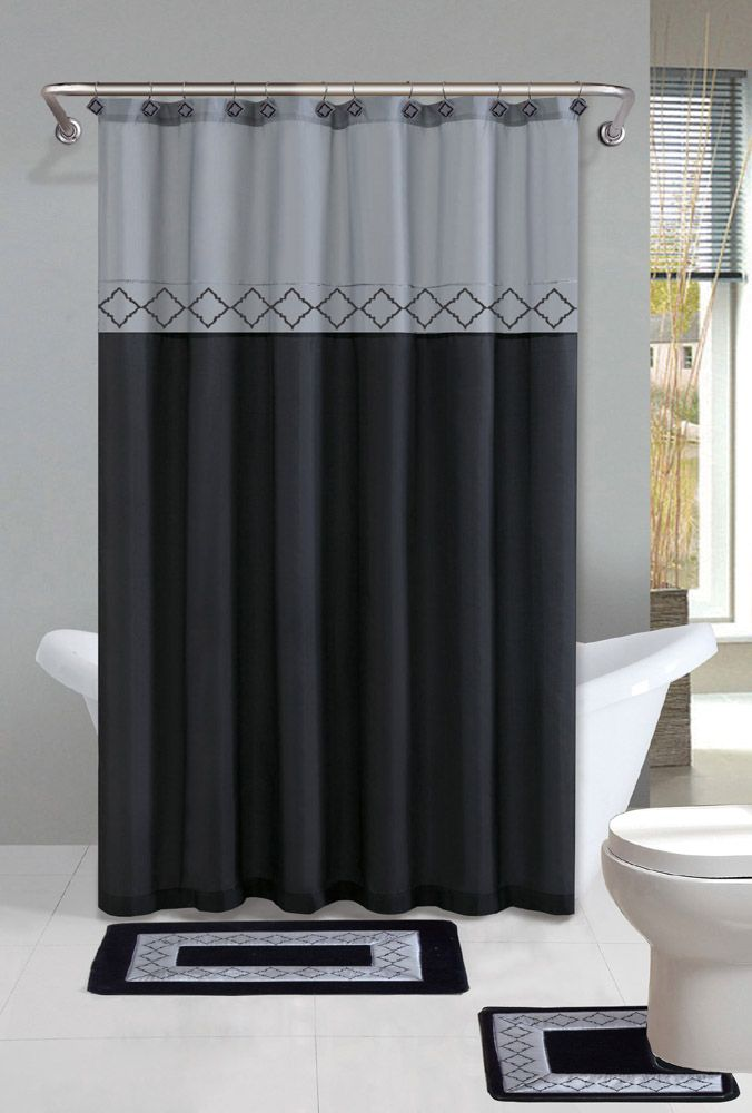 Contemporary Bath Shower Curtain 15 Pcs Modern Bathroom Rug Mat Contour  Hook Set
