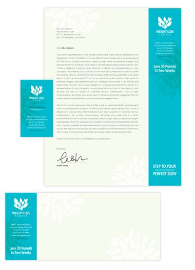 Weight loss center card & letterhead template will be a good choice ...
