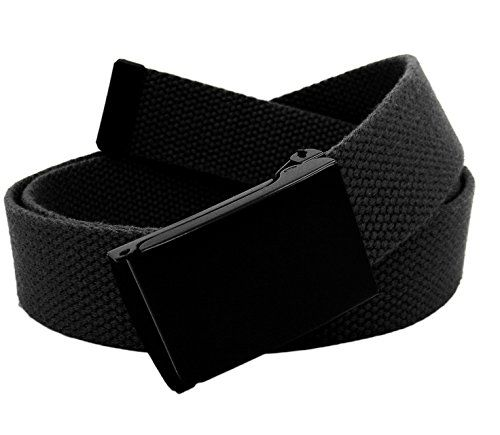 Boys School Uniform Flip Top Black Black Belt Buckle with Canvas Web Belt