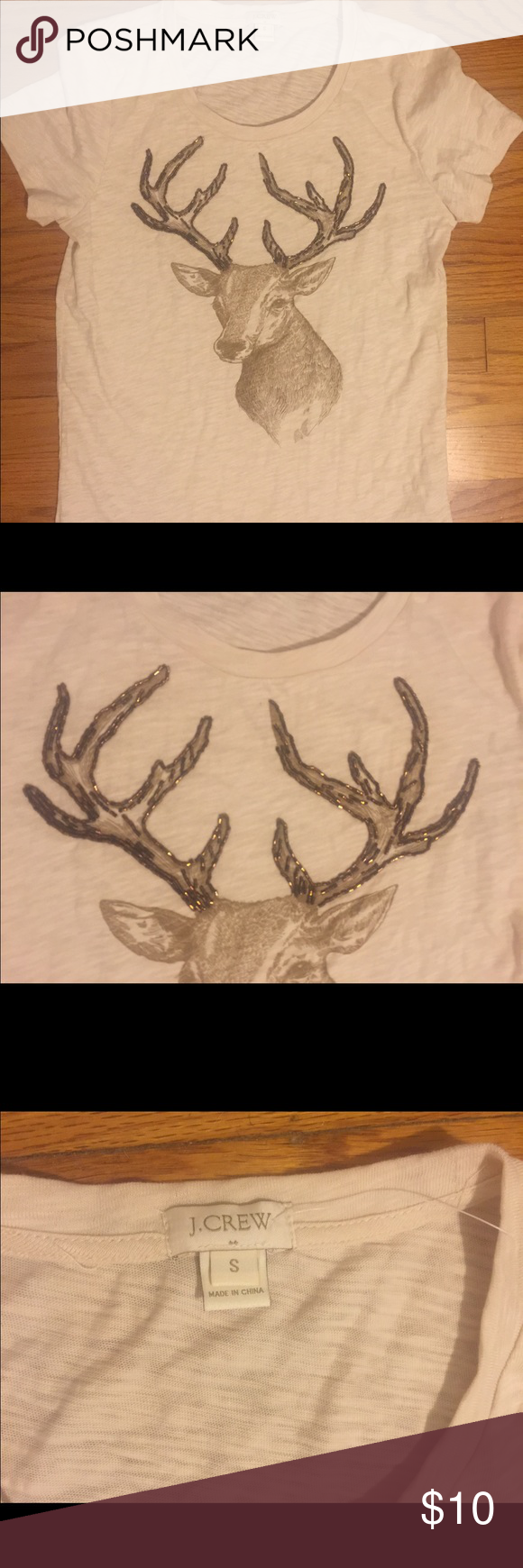 J Crew factory deer t shirt J Crew factory deer t shirt with beading. Worn once to a holiday party. No trades. Make an offer J. Crew Factory Tops Tees - Short Sleeve