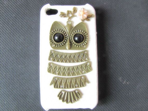 white  case pink  flower Antique Brass Cute Owl  by sevenvsxiao, $11.99