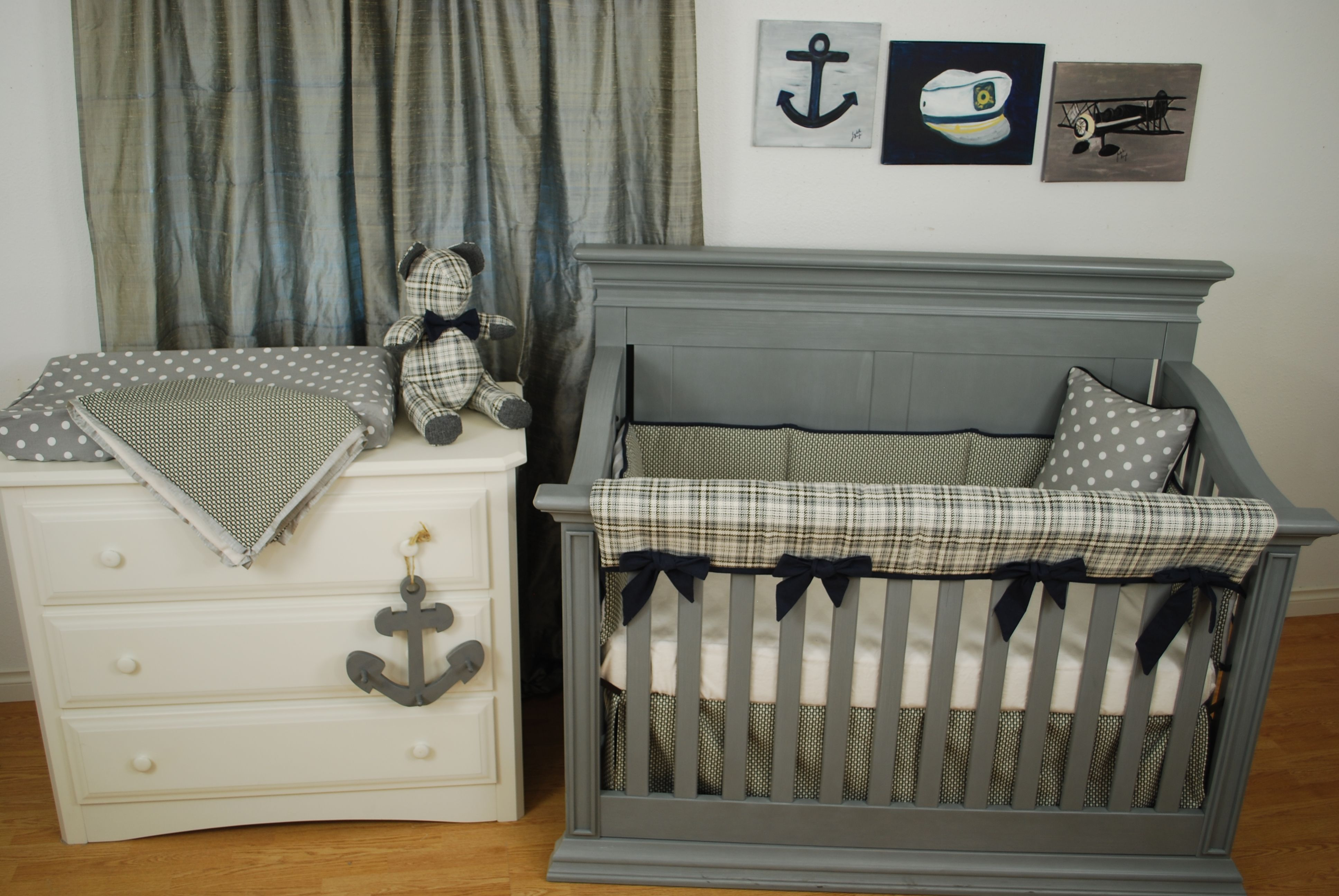 and cribs by rustic plaid navy bedding creek nursery grey pine a in crib with decor pin