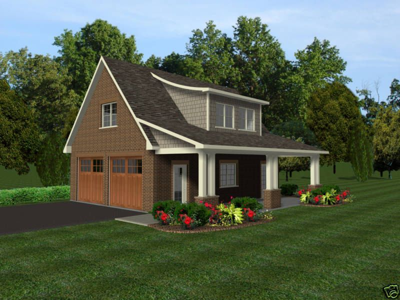 2 Car Garage Plans w/ Office, Loft, & Covered Porch in