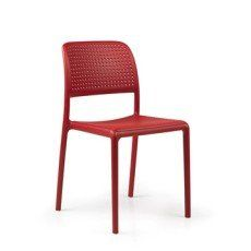 Chaise de jardin en résine (plastique) Bora rouge | Pagliaghju ...