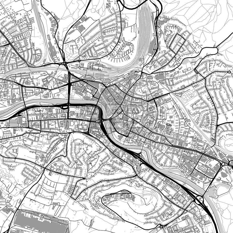 Saarbrcken Germany vector map with buildings Highway road and