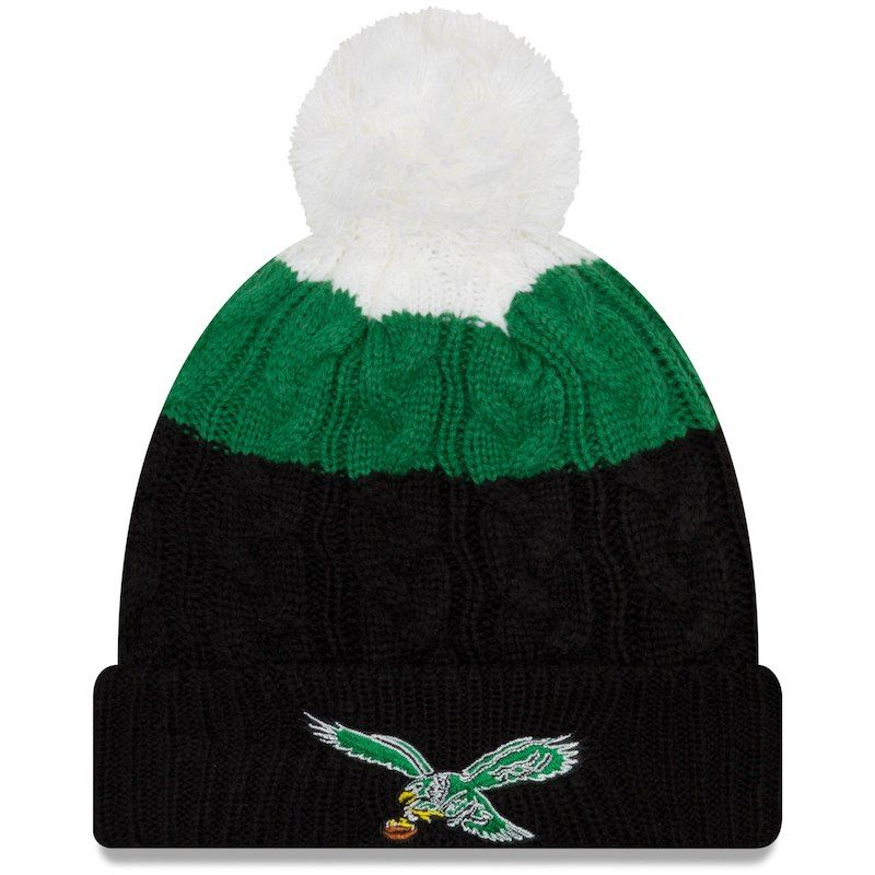 Philadelphia Eagles New Era Women s Throwback Logo Layered Up 2 Cuffed Knit  Hat with Pom - White Black 7ca0d9bc4