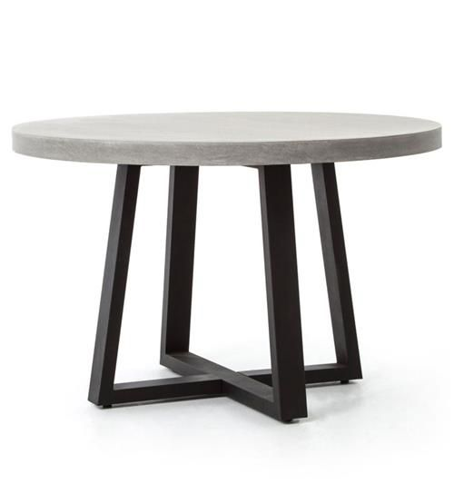 Maceo Modern Classic Round Composite Stone Metal Dining Table 48