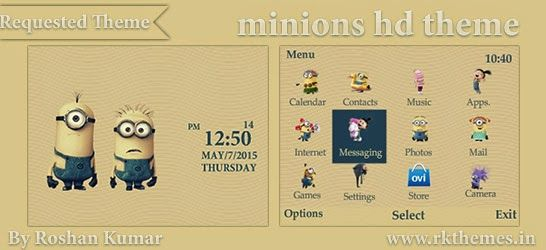Minions HD Theme For Nokia C3-00, X2-01, Asha 200, 201, 205, 210, 302 & 320×240 Devices ~ Rkthemes | Download Free Themes For Nokia and Android Phones