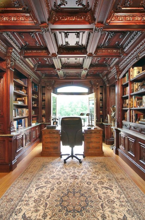 Coffered Ceiling   Home libraries, Home library design ...