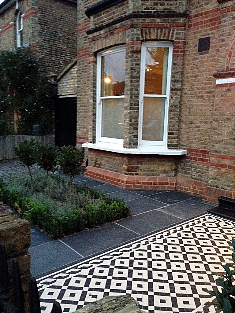 Paving Designs For Front Gardens find this pin and more on front garden Black And White Victorian Mosaic Tile Garden Path Slate Paving Yellow Stock Brick Wall Dulwich Peckham