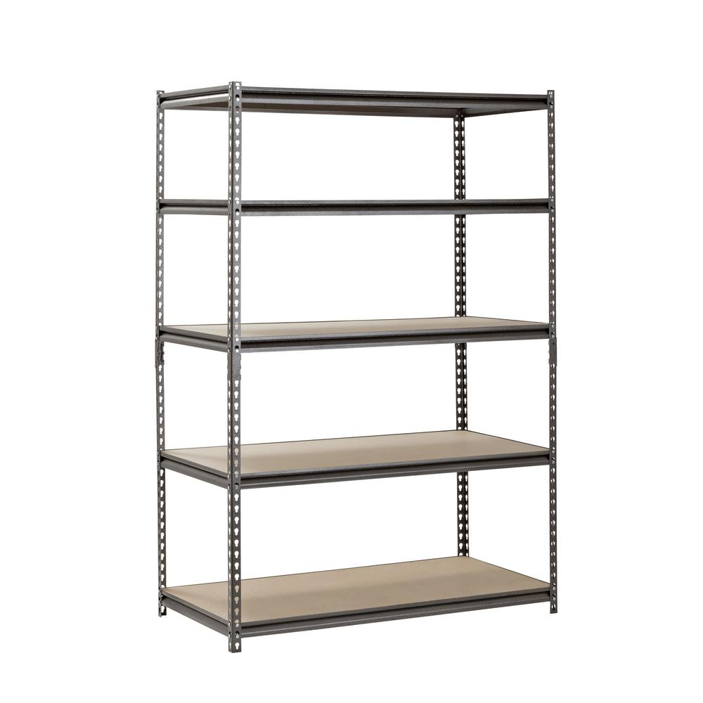 Muscle Rack 72 In H X 48 In W X 24 In D 5 Shelf Z Beam Boltless Steel Shelving Unit In Silvervein Ur482472pb5p Sv Steel Storage Rack Steel Shelving Steel Shelving Unit
