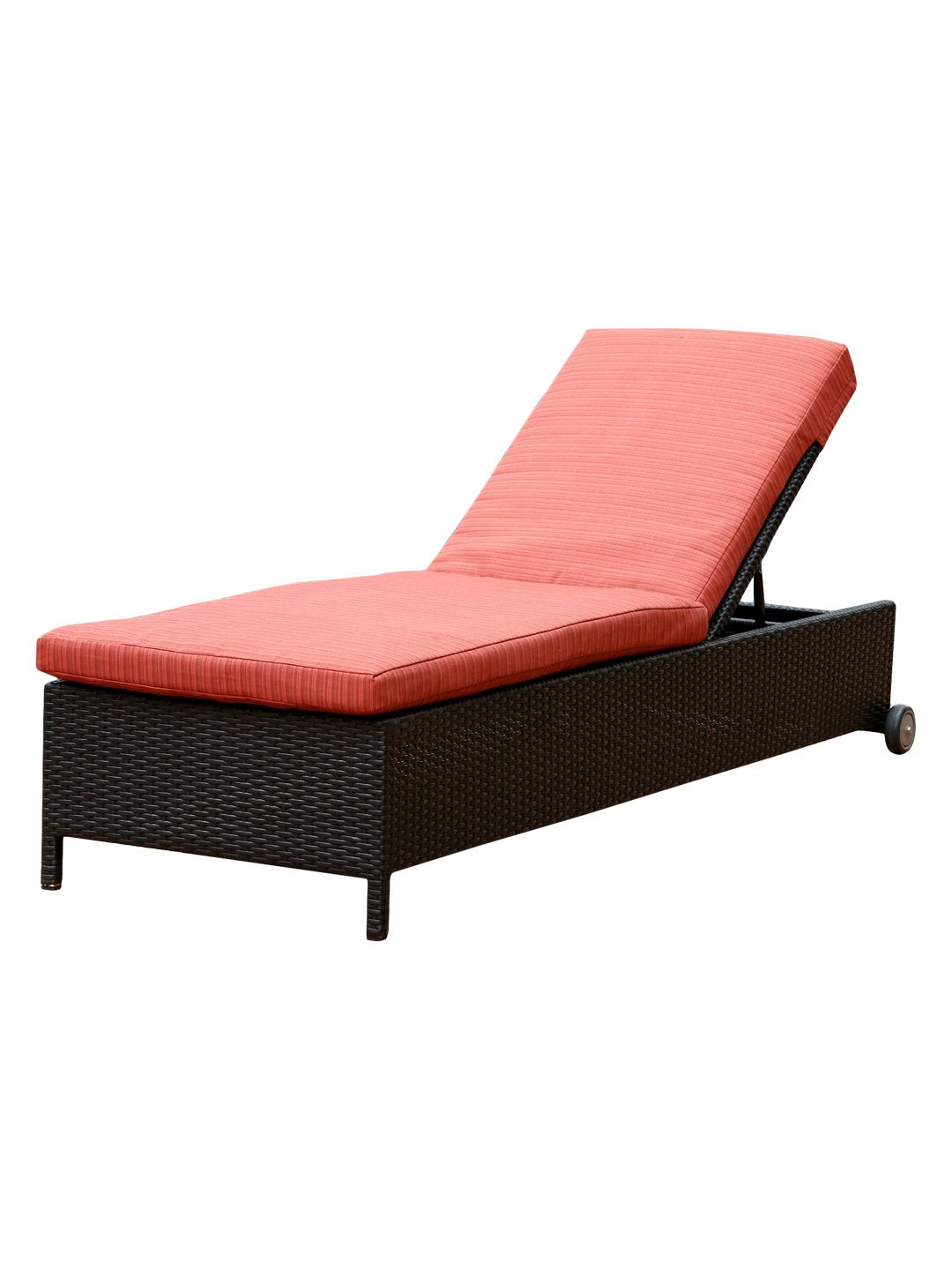 Enjoy A Refreshing Nap On The Veranda Or Dive Into Your Latest Read Poolside With This Wicker Inspired Chaise Showcasing Red Cushion For Pop Of Color