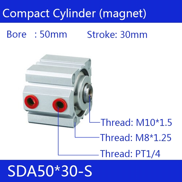 29.45$  Buy here  - SDA50*30-S Free shipping 50mm Bore 30mm Stroke Compact Air Cylinders SDA50X30-S Dual Action Air Pneumatic Cylinder