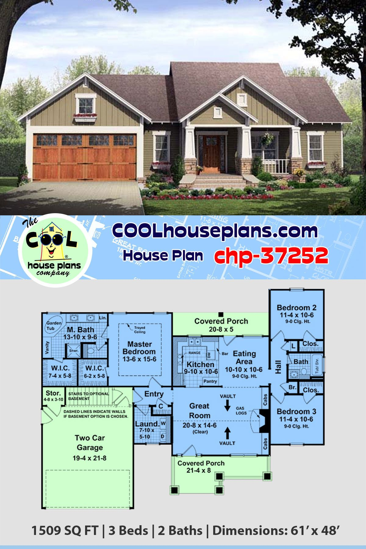 Traditional Craftsman Home Plan Chp 37252 At Cool House Plans From The Most Popular Collecti Craftsman Style House Plans Craftsman House Plans Best House Plans