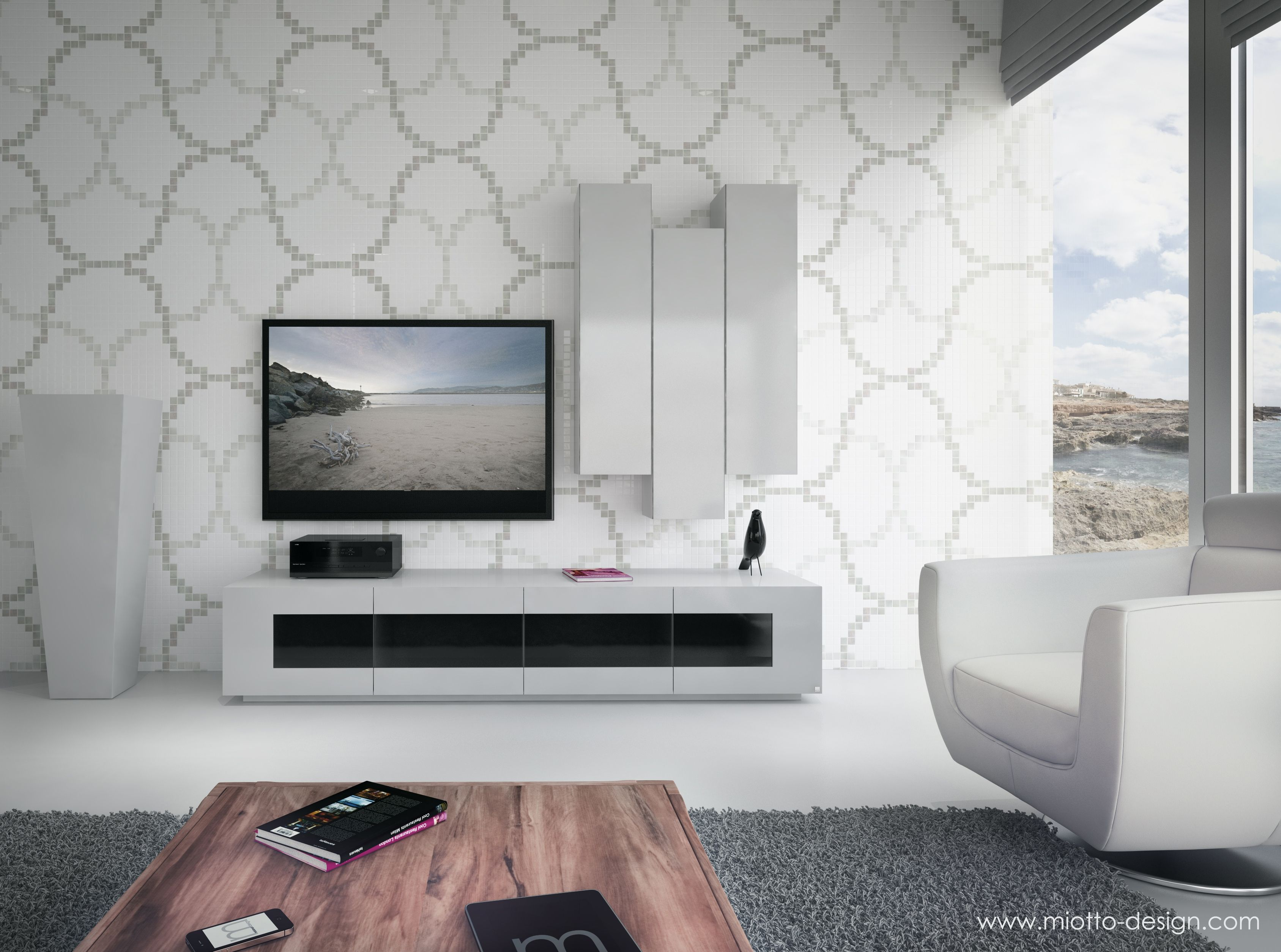 Soriano grande tv unit in high gloss with four drawers and glass ...