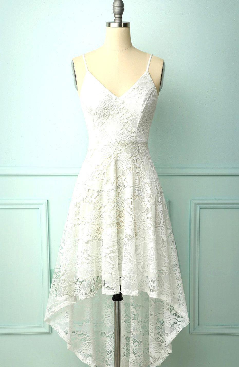Vintage A Line Spaghetti Straps High Low White Lace Prom Dress Zapaka White Beach Dress Short Lace White Dress Vintage Formal Dresses [ 1430 x 930 Pixel ]
