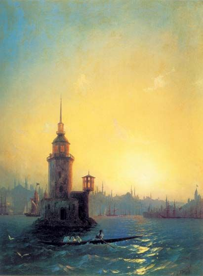 View of the Leander Tower in Constantinople