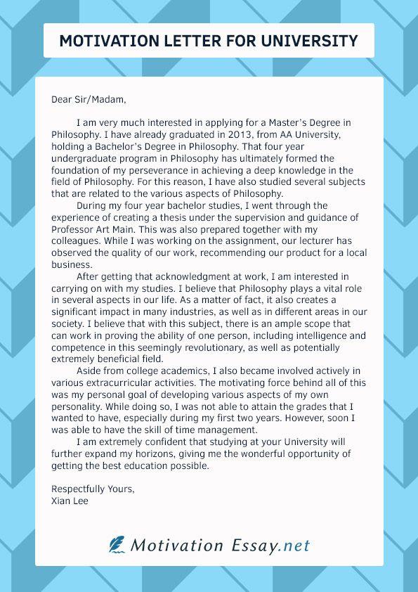 Pin on Motivation Letter for University