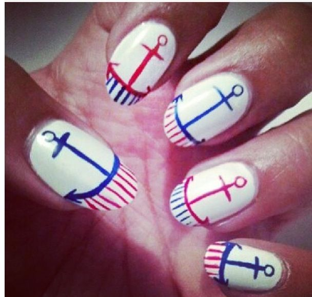 Anchor Red White And Blue Nail Design Nails Pinterest Blue
