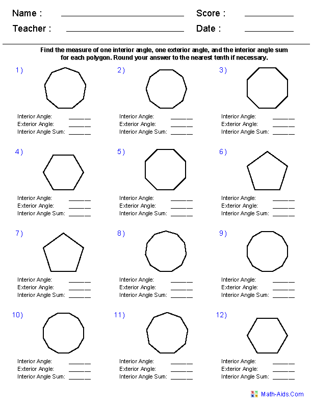 Names of Polygons Geometry Worksheets – Angle Addition Worksheet