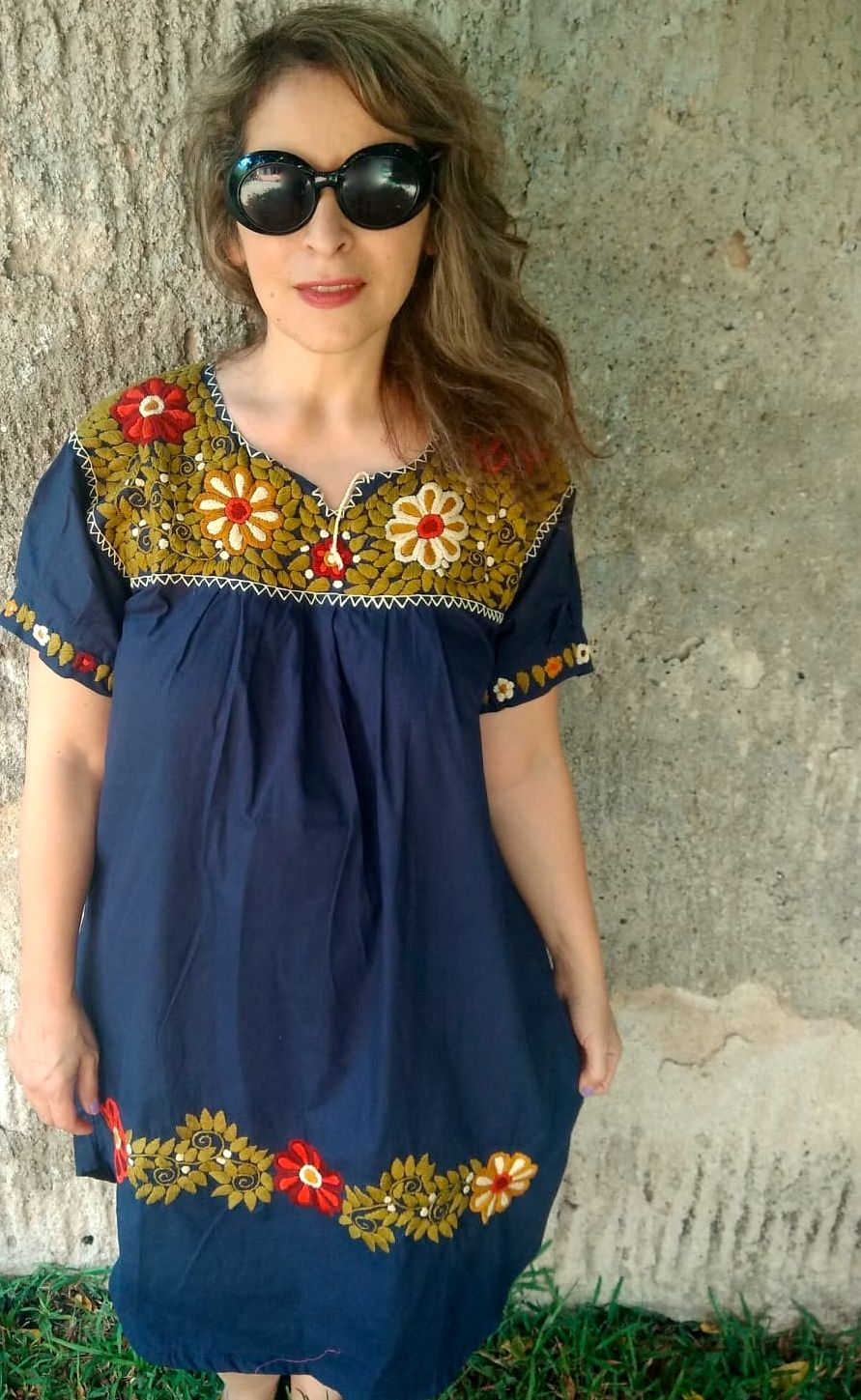 XL, Mexican Dress, Embroidery Black Dress with Sleeves ...