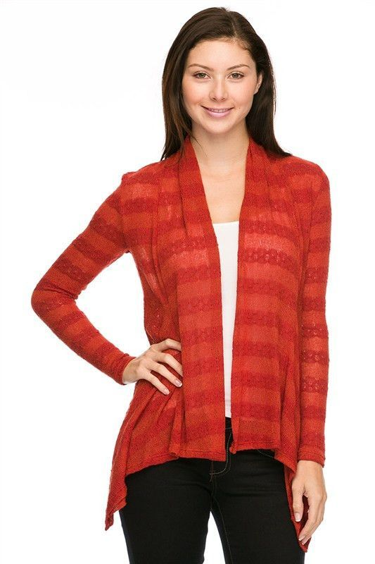 Horizontal Striped Plus Knit Cardigan