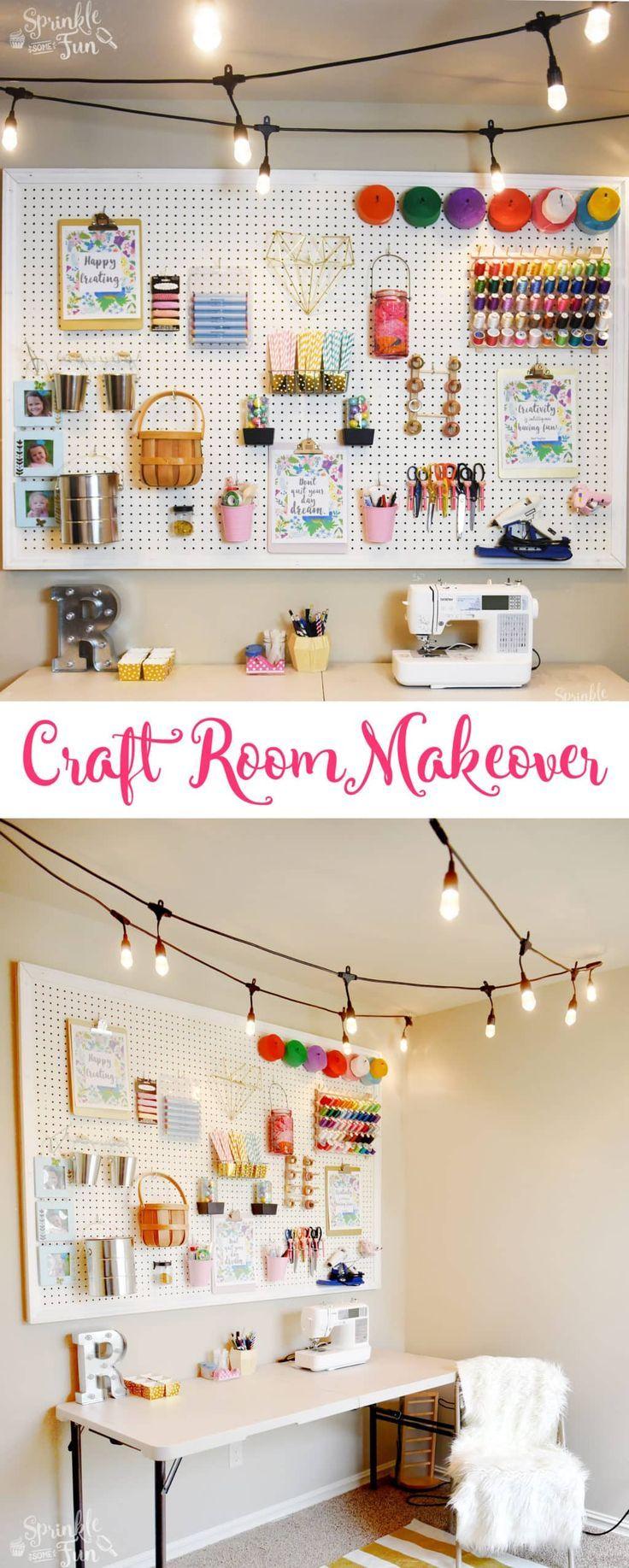Craft Room Makeover with Café Lights ⋆ Sprinkle Some Fun