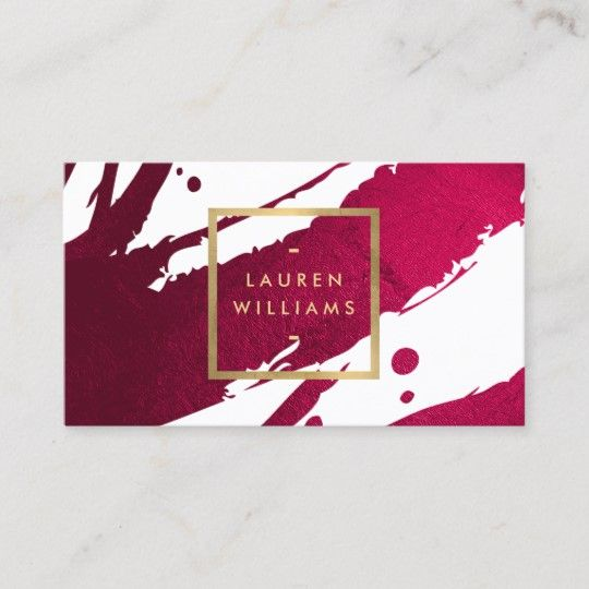 Abstract Deep Ruby Red Brushstrokes Business Card   Zazzle.com