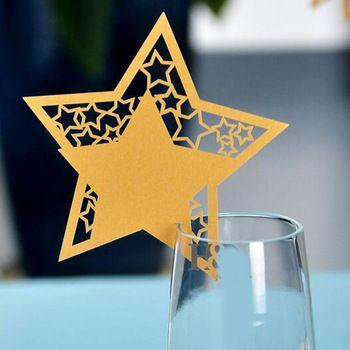 Nuevo 50 unidslote Gold Star Escort Card Copa de Vino Nombre Tarjetas De Papel Tarjeta de Mesa de Banquete de Boda de Cumpleaos Taza