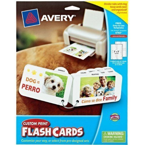 Avery Custom Print Flash Card,Theme/Subject: Learning - Skill Learning: Math Question, Sight Words, by Avery. $9.06. Divide and conquer different learning styles with Custom Print Flash Cards with dividers tabs. These flash cards let you easily create fun, personalized study tools right from your own computer. The pack includes eight tabs that let you separate the flash cards by category. An included metal ring lets you keep your cards organized or take them on the...