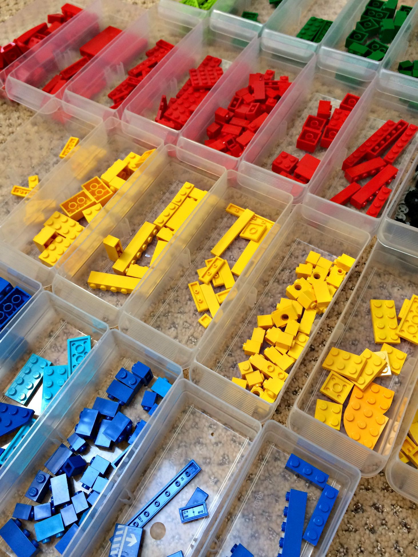 how to organize legos by type