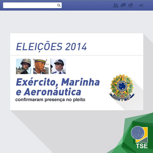 As Forças Armadas confirmaram presença no processo eleitoral brasileiro. Para garantir a segurança das Eleições 2014 e, caso seja preciso, transportar urnas para locais de difícil acesso, o TSE e o Ministério da Defesa assinaram um acordo no final do mês de julho. O convênio visa garantir que todo brasileiro exerça seu direto ao voto.