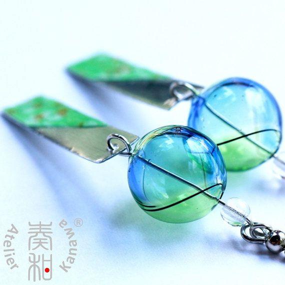 Wind of Summer - Edo Furin Style Wind Chime Earrings with Sakura Tanzaku