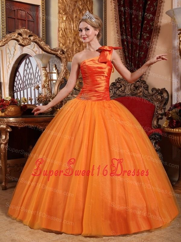 Beautiful Orange Sweet 16 Dress One Shoulder Tulle Beading Ball Gown ...