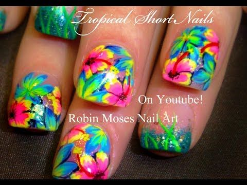 Hot Neon Pink Flower Nails Tropical Plumeria Nail Art Design Tutorial Tropical Flower Nails Tropical Nail Art Pink Flower Nails