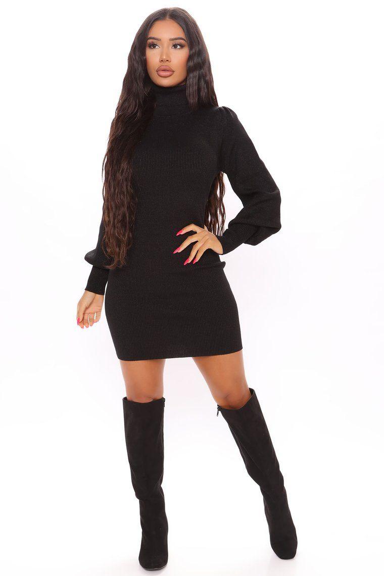Bubble Babe Turtleneck Dress Black in 2020 Black