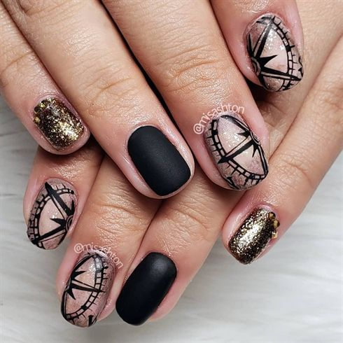 Nail Art From The Nails Magazine Nail Art Gallery Hand Painted Hand Painted Vintage Compass Natural Nails Matte Pirat Pirate Nails Pirate Nail Art Nails