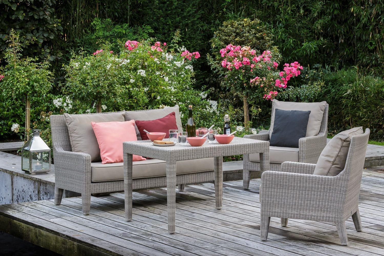 Canapé de jardin résine galet Allan | Salons de jardin en ...