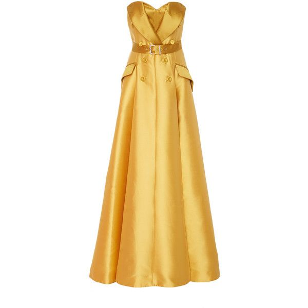 Alexis Mabille Strapless Belted Gown (15.929.410 COP) ❤ liked on Polyvore featuring dresses, gowns, gown, yellow, tie belt, alexis mabille dress, beige strapless dress, strapless evening gown and beige gown