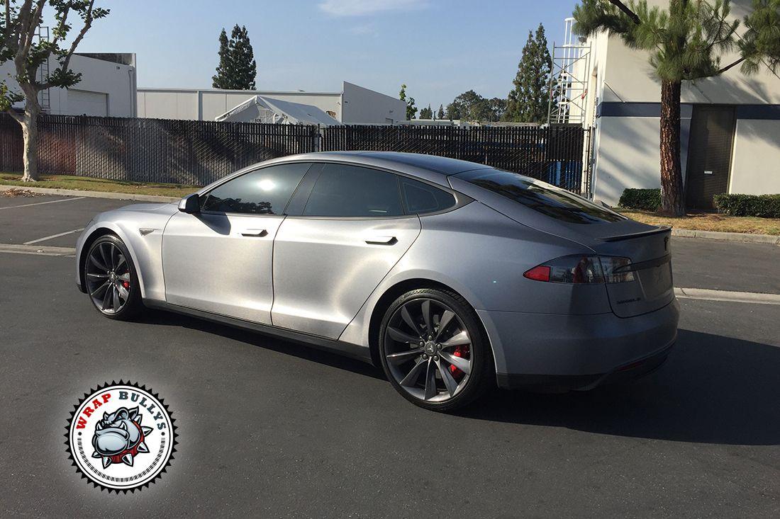Tesla Car Wrap In 3m Brushed Steel Wrap Bullys Tesla Car Tesla Car Wrap