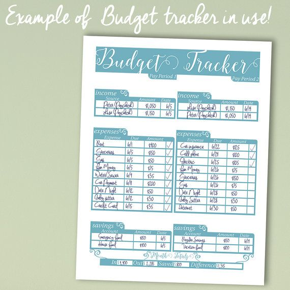 Blue Budget Tracker Printable Budget Sheet by RodeDigital