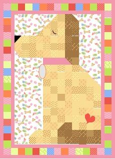 "This Quilt Could Be Yours ~ a Labrador puppy-themed quilt that is the doggone cutest dog quilt ever.  Scrappy pieced yellow lab with a personalized dog collar and a cheerful, bright pastel border.  Approximately 64""x88""; $650.  Click thru to have this quilt custom made just for you by Whimzie Quiltz and More today!"