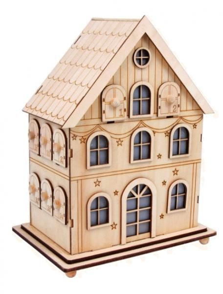 Winter House Natural Wooden Advent Calendar With Illumination Earlywhirly The Best Deals On