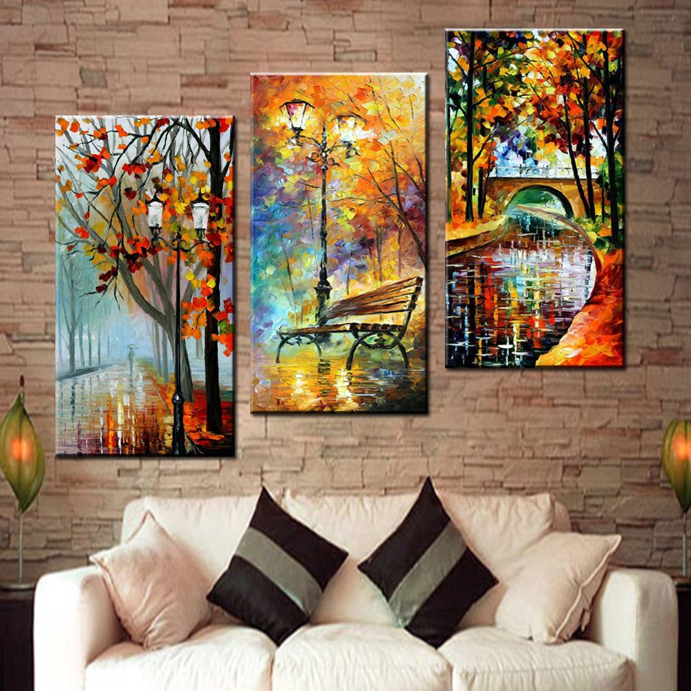Large Handpainted Abstract Modern Wall Painting Rain Tree