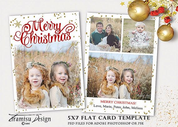 christmas card template 5x7 in holiday card adobe photoshop psd