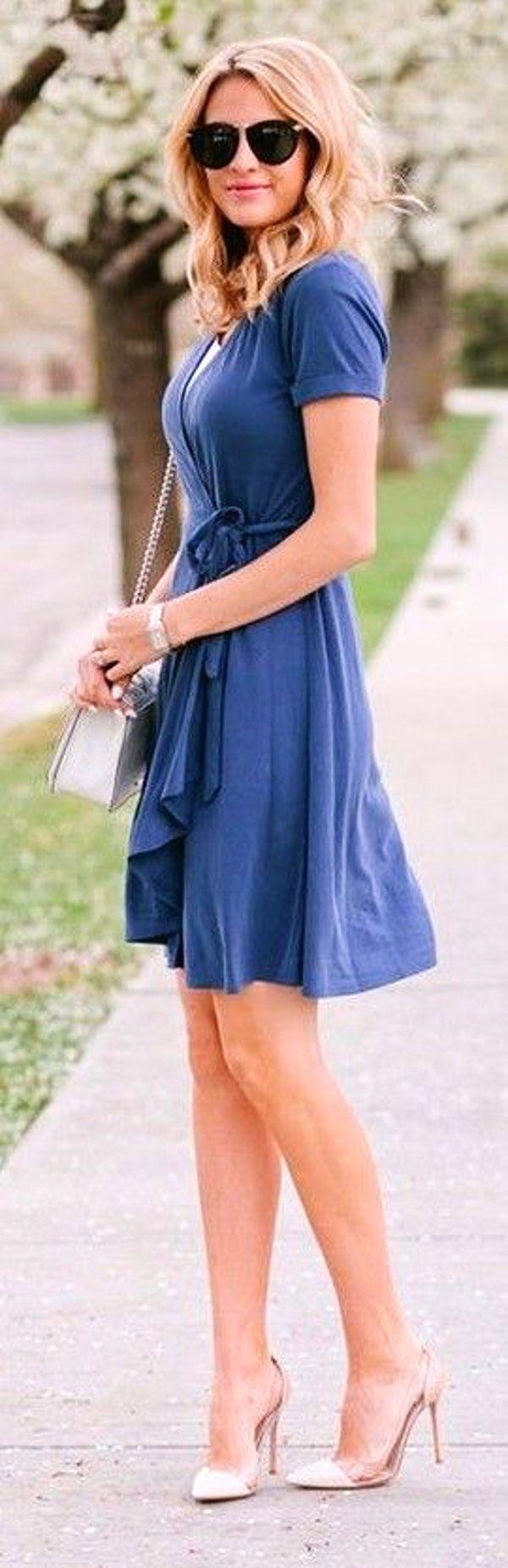 #street #fashion |Blue Wrap Dress |The Ivory Lane
