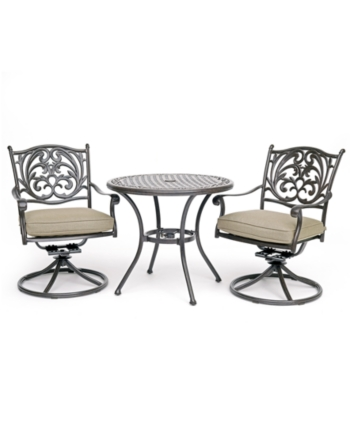 Chateau Outdoor Aluminum 3 Pc Dining Set 32 Round Cafe Table