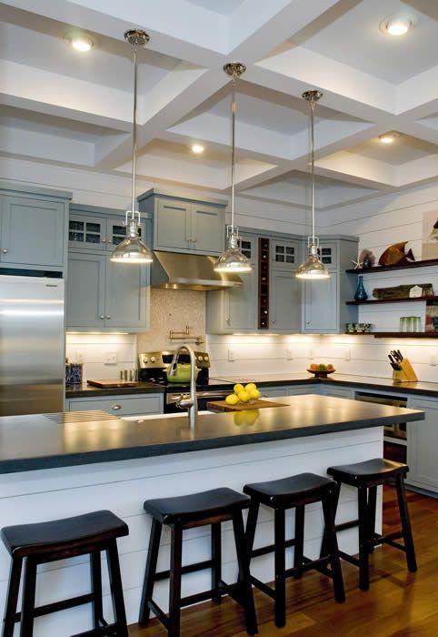 Custom Kitchen Coffered Ceiling Floating Shelves