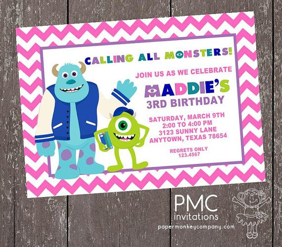 Monsters university party invitation