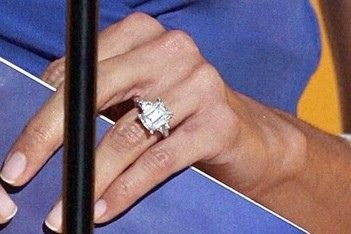 Eva Longoria Engagement Ring Diamond Emerald Cut Platinum Three Stone Design